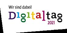 """Logo von Digitaltag mit """"Wir sind dabei!"""" Slogan"""