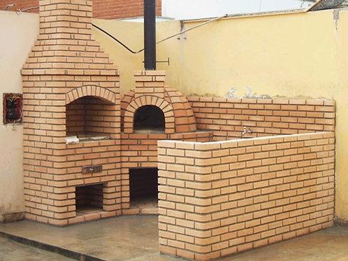 churrasqueira, forno de pizza  e balcao em tijolos a vista