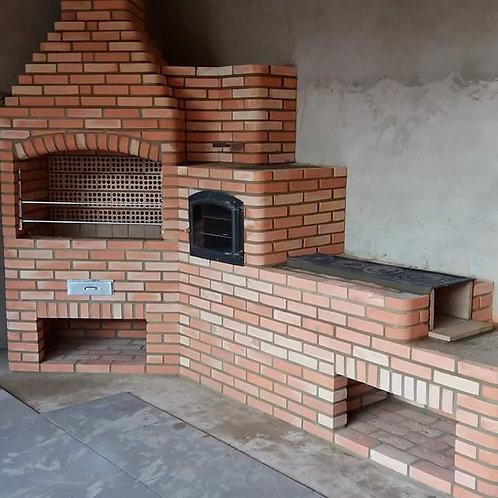 churrasqueira de tijolos a vista de canto com fogão 4 bocas