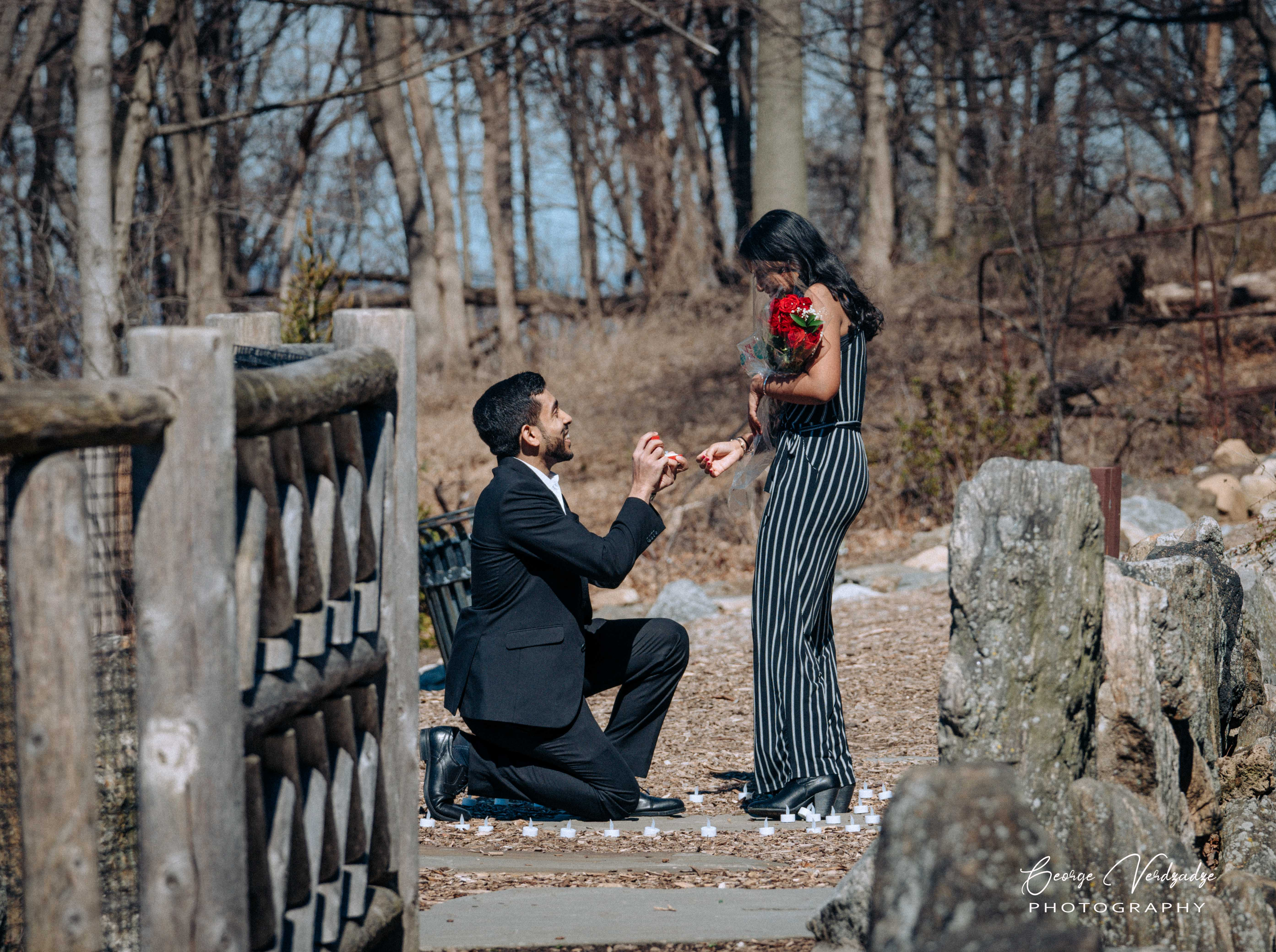 Marriage proposal at Untermyer Gardens, Yonkers, NY