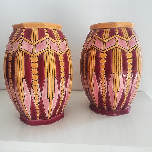 Paire de vases art deco Longwy