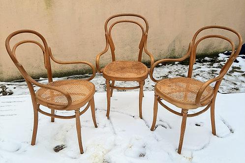 trois fauteuils Thonet art nouveau