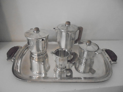 Service a café métal argenté ercuis art deco