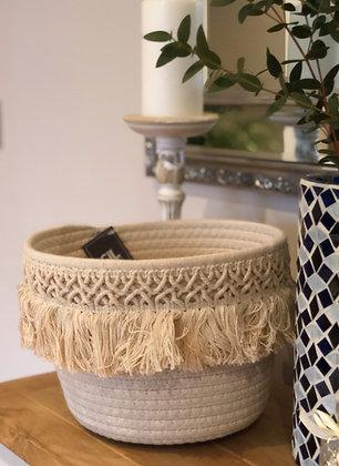 Cream fringed tassel storage basket