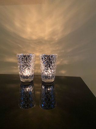 Silver votive candle holder set