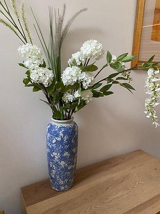 Large blue leaf vase