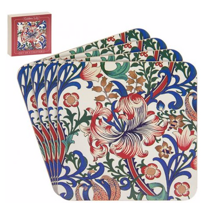 William Morris golden lily set of coasters (4 Pack)