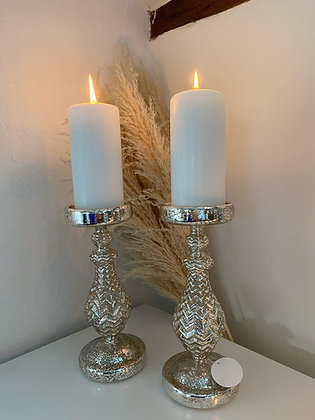 Mottled Glass Candle Holders With LED Lights