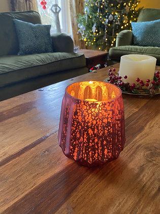 Pink mottled glass candle holder