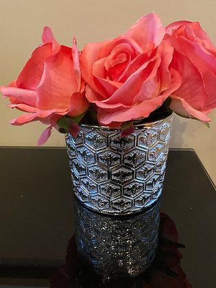 Silver bee vase
