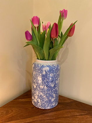 Medium blue leaf vase