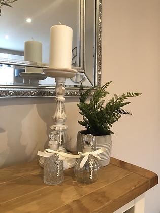 Mini decorative glass bottles with key detail