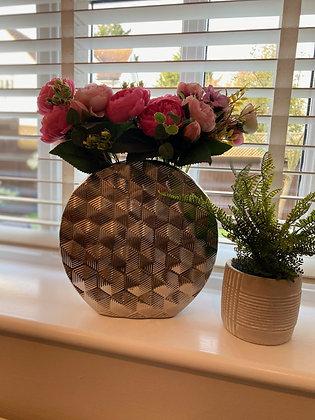 Large Geo Silver Vase