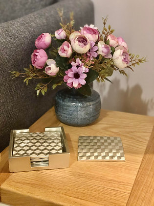 Embossed cube coasters with holder