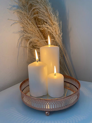 Copper Mirror Candle Plate