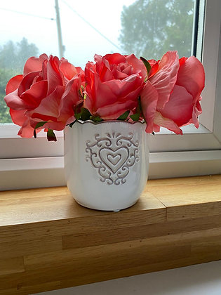 White embossed heart ceramic vase