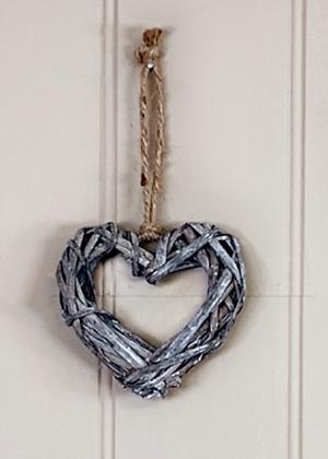 Grey rattan heart wreath