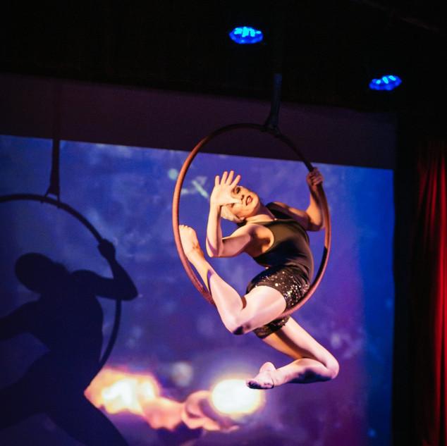 Aerial hoop with visuals