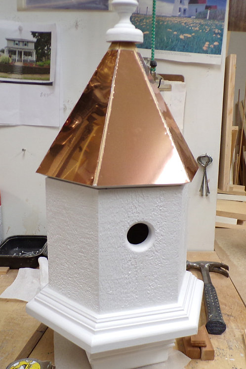 2 Cluster Roundabout Post Birdhouse w/ Copper Roof
