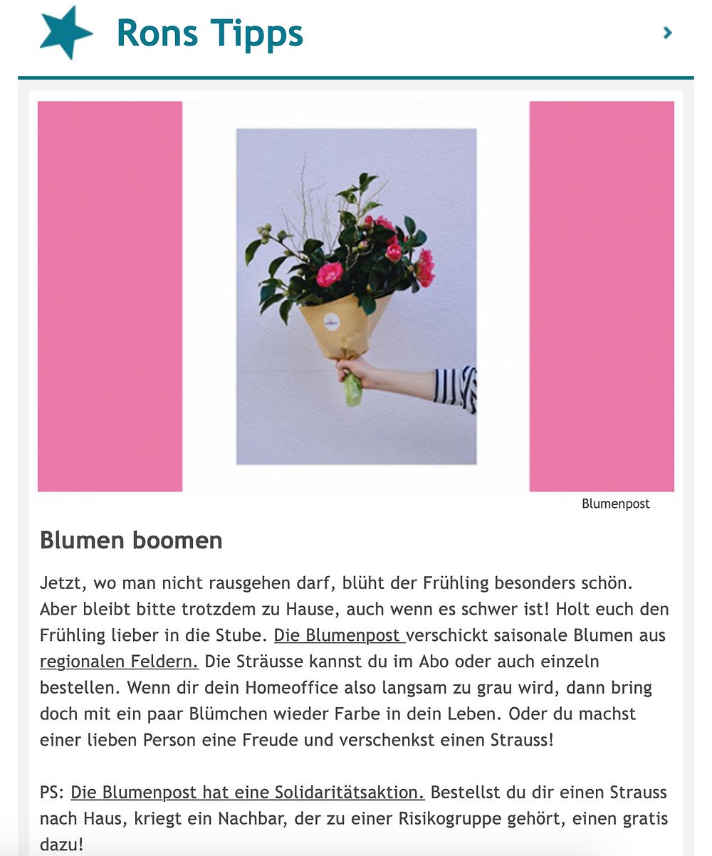 Blumenpost in Ron Orp's Mail, 2020