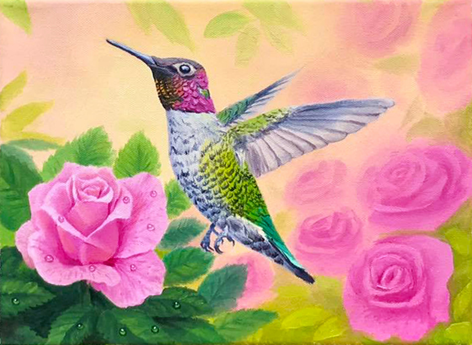 Hummingbird & Pink Roses