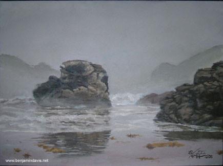 Foggy Rocky Beach