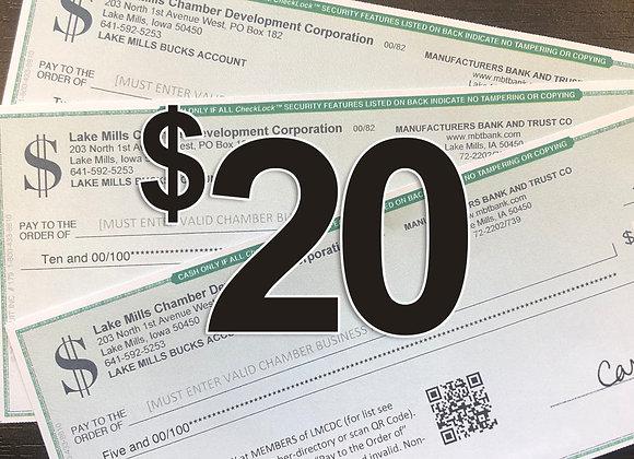 $20 Lake Mills Bucks