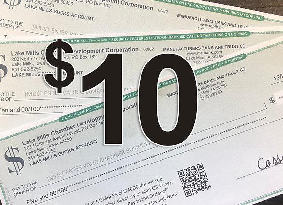 $10 Lake Mills Bucks
