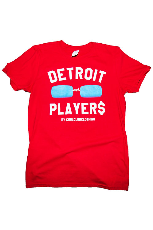 Icy Blue Tinted Detroit Player$ Red Tee