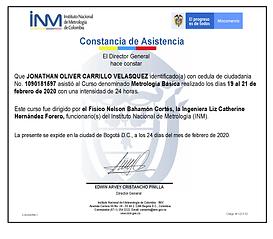 Certificado de Asistencia Curso de Metro