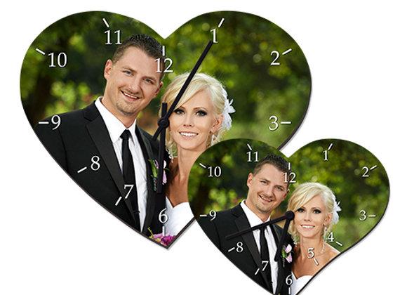 Horloge mural cœur en bois