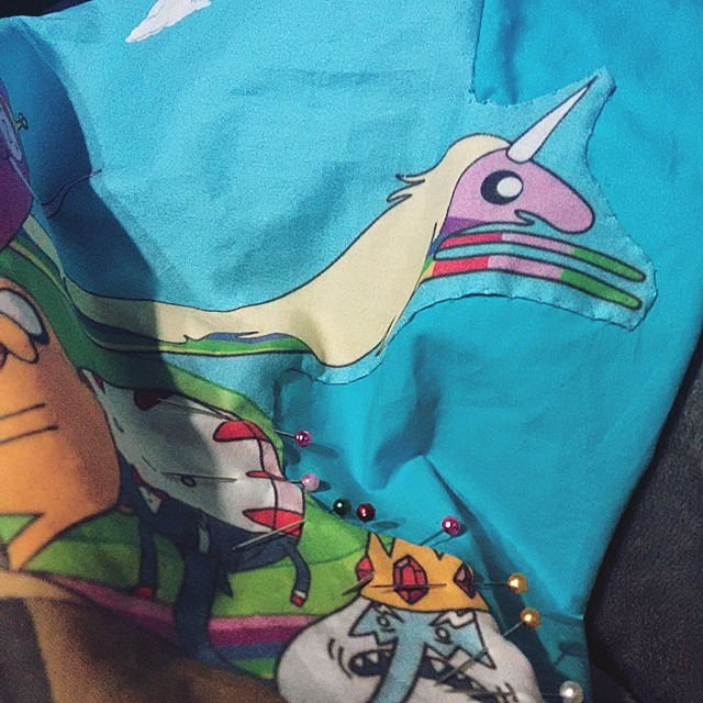 #adventuretime bedsheets coming along #lateXmasPressie
