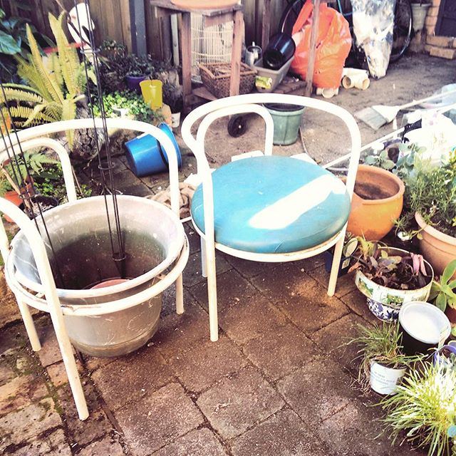 And old rotting chair becomes a #planter #stand _canadabay