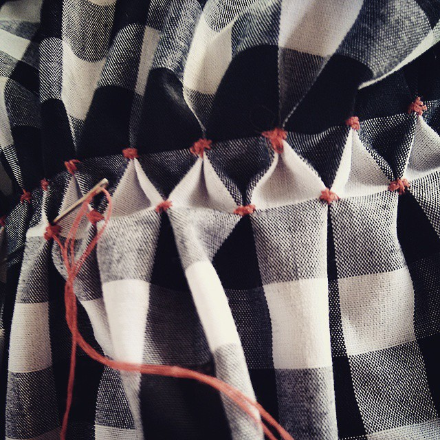 Did some #smocking on #gingham last night..