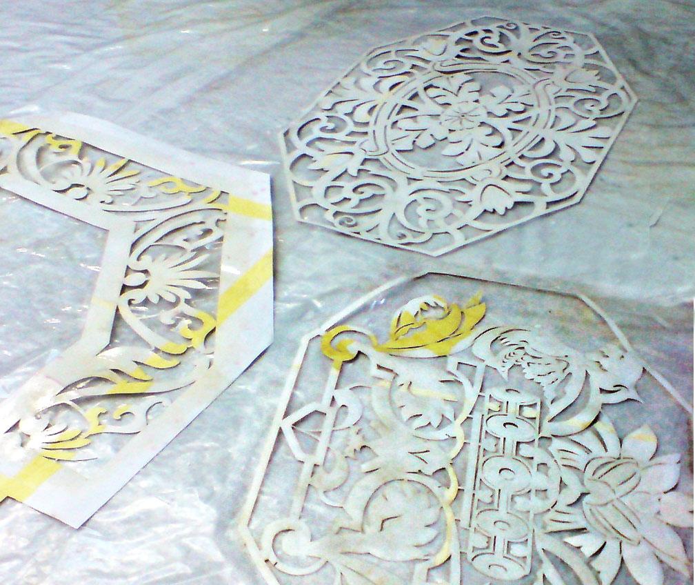 Ornamentschablone für Prospekt