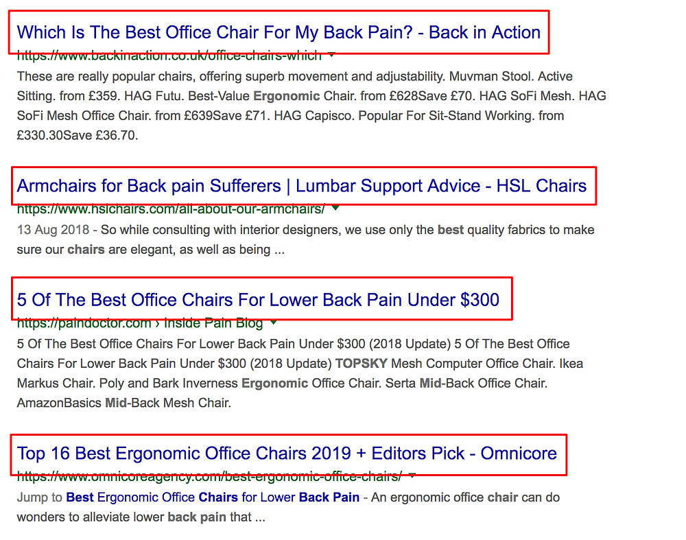 title tag example in search result pages