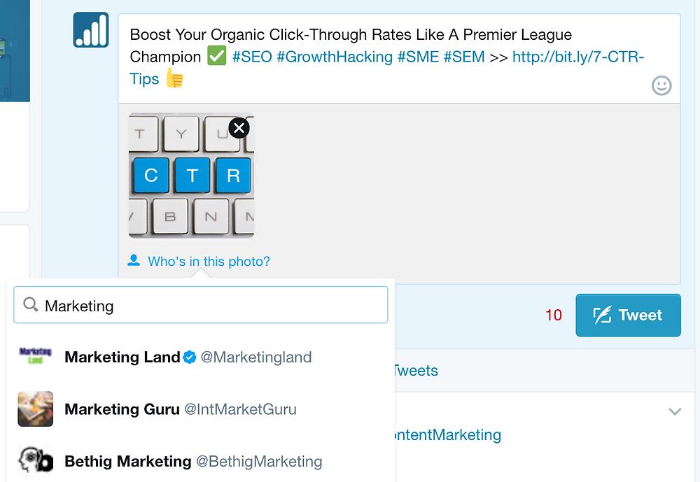twitter marketing photo tagging