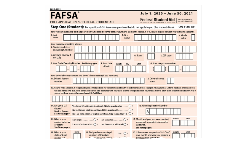 fafsa section with space to fill student information