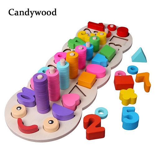 Fine motor educational toy. Numbers, Shapes, Colours
