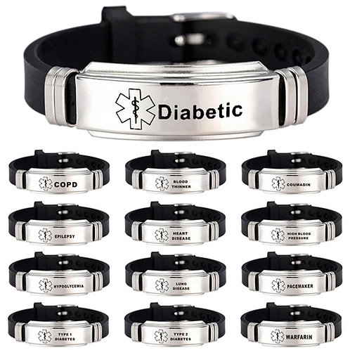Stainless Steels Engraved Unisex Medical Alert ID bracelets with silicon strap.