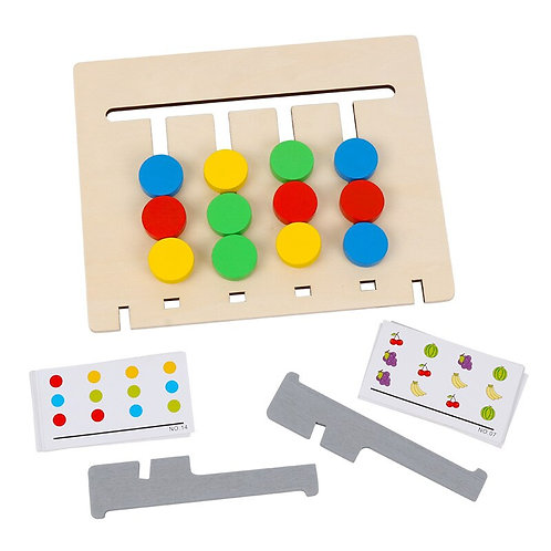 Pairing, reasoning training double sided toy.
