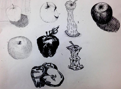 Apples pencil and pen drawings
