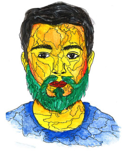 Josh watercolour painting with pen on top