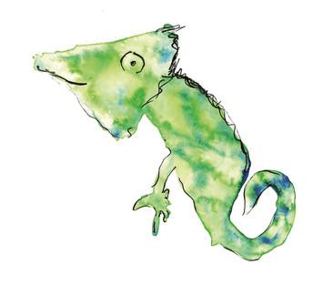 Chameleon watercolour painting