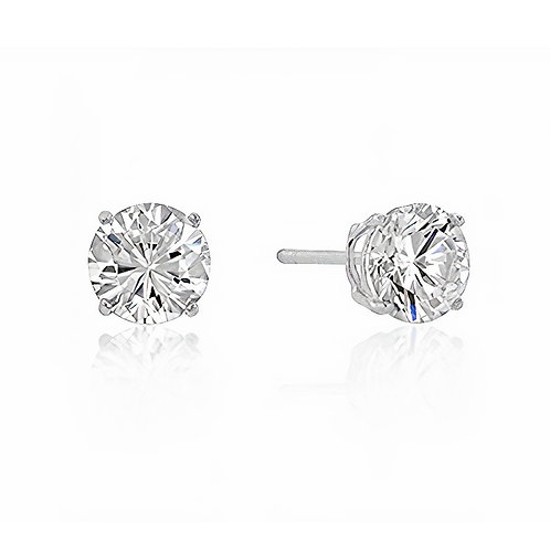STERLING ROUND CUT CUBIC ZIRCONIA STUDS SILVER