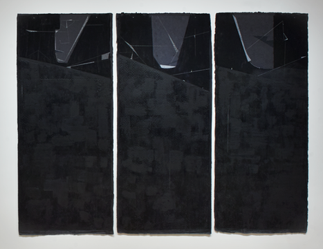 Scalar #1, De-Teritorializing (Water Table) Graphite, wax on paper Triptych 48 x 96 in, 144 x 96 in 2017