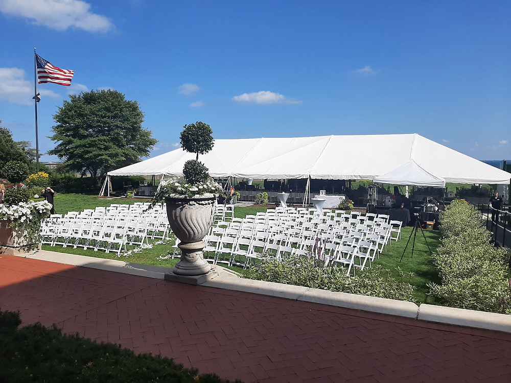 Seating and tent for a wedding at Grosse Pointe War Memorial. Music: Rondo String Quartet. www.RondoStringQuartet.com