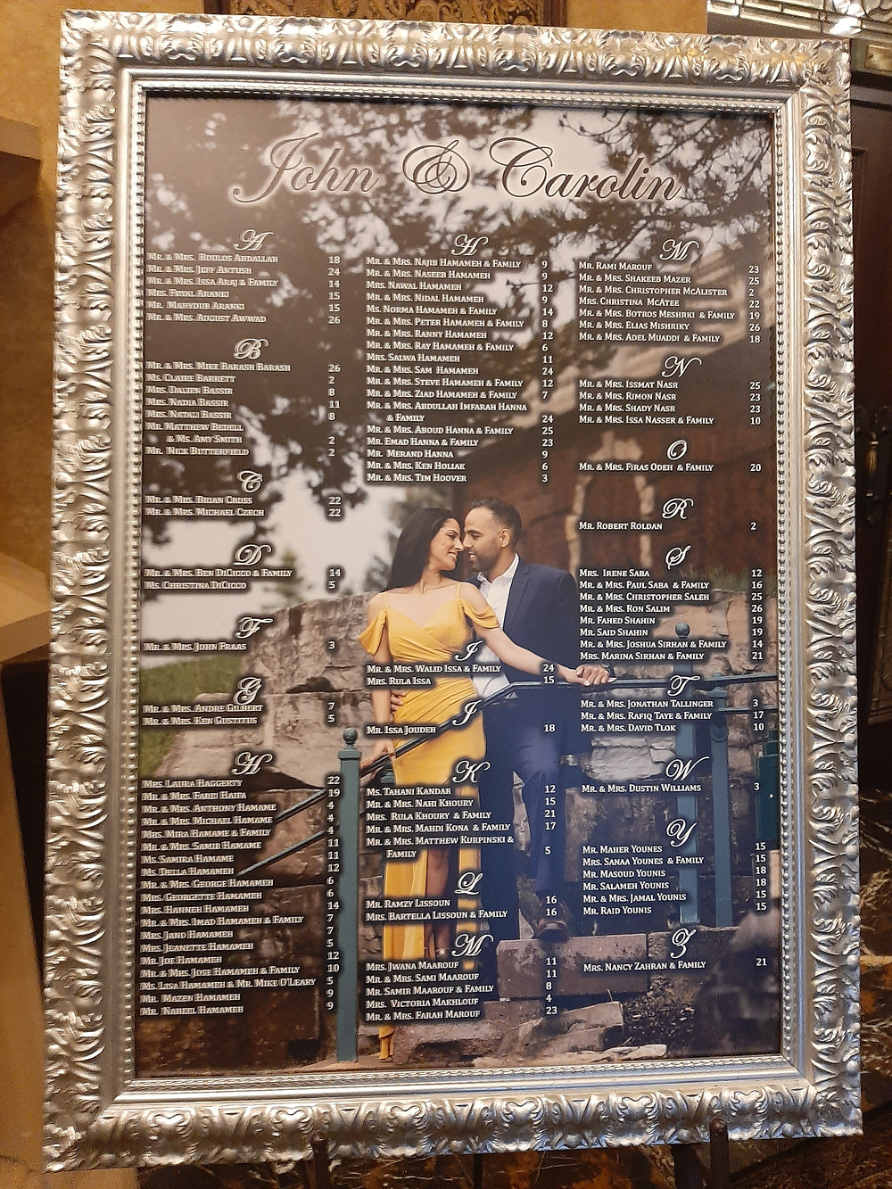Wedding table seating chart with picture of couple. Music: Rondo String Quartet. www.RondoStringQuartet.com