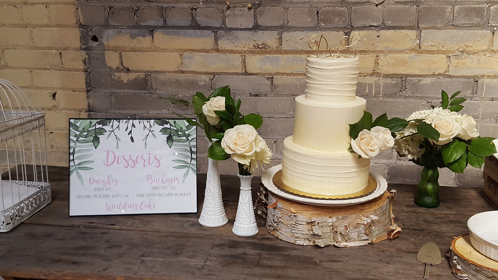 Lyndsey and Dave's wedding cake and dessert table at Jam Handy, Detroit, Michigan. Mitten Weddings coordinated. Picture by Rondo String Quartet