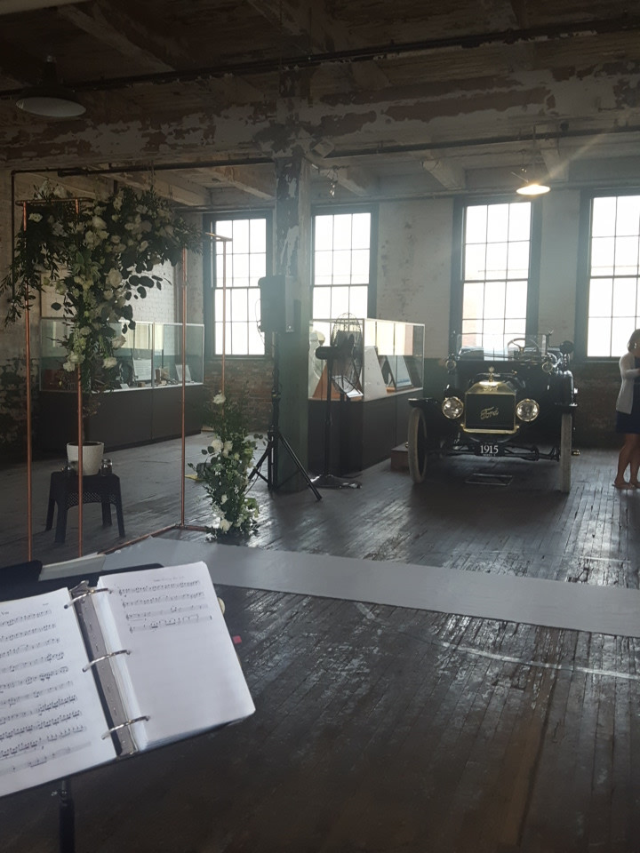 Wedding at historic Ford Piquette Avenue Plant, Detroit, Michigan. Music from the Rondo String Quartet.